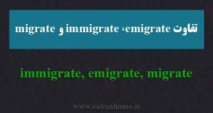 کاربرد immigrate، emigrate و migrate